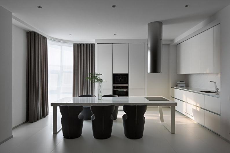 Cuisine blanche dans le style du minimalisme - photo