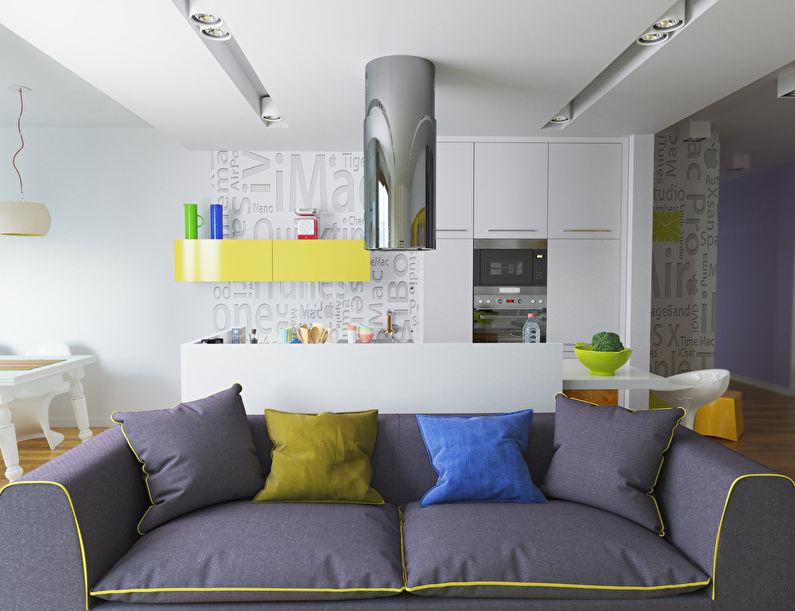 La conception de la cuisine-salon dans le style du minimalisme - photo