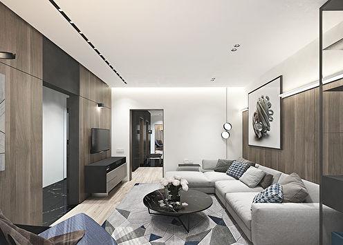Conception de l'appartement dans le style du minimalisme, Domodedovo