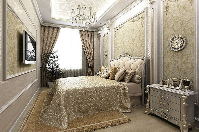 Chambre 15 m2 dans un style classique - Design d'intérieur