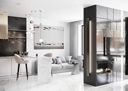Design de salon noir et blanc