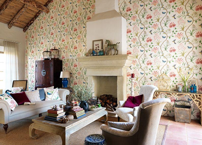 Papier peint pour le salon dans le style campagnard