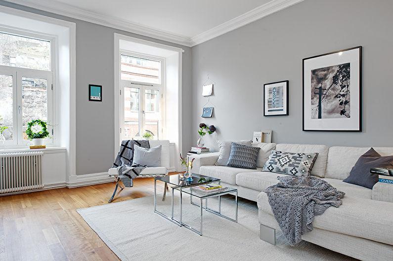 Papier peint gris pour la salle