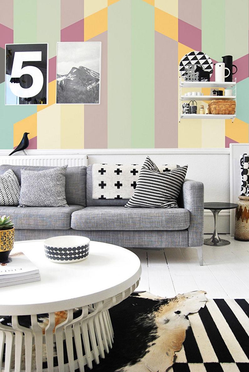 Papier peint aux couleurs pastel pour la salle