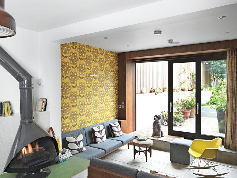 Papier peint jaune pour la salle