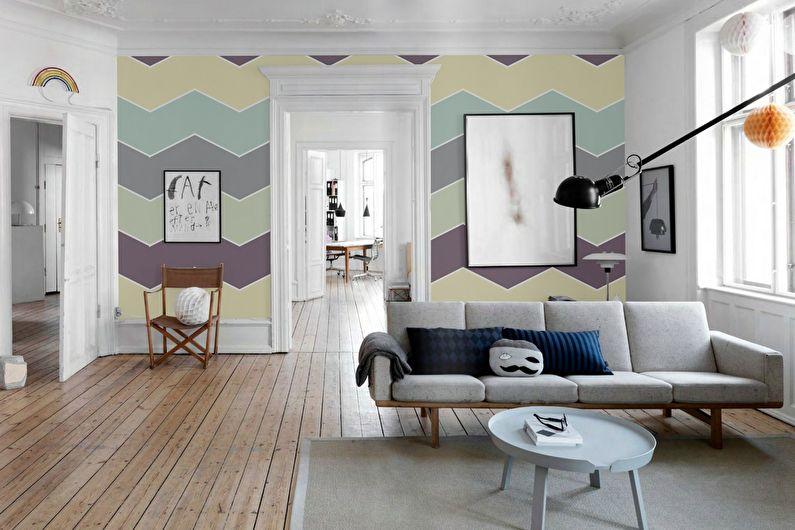 Papier peint aux couleurs pastel à l'intérieur de la salle
