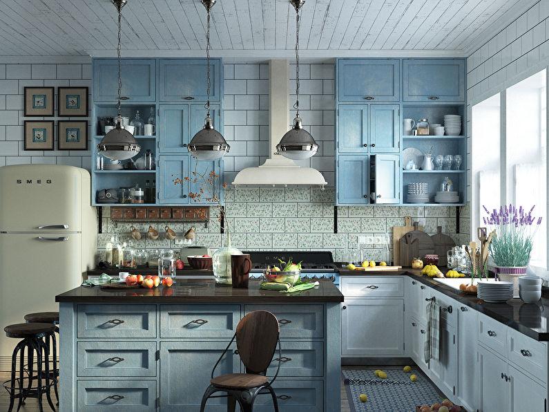 Conception de cuisine Provence bleu et blanc