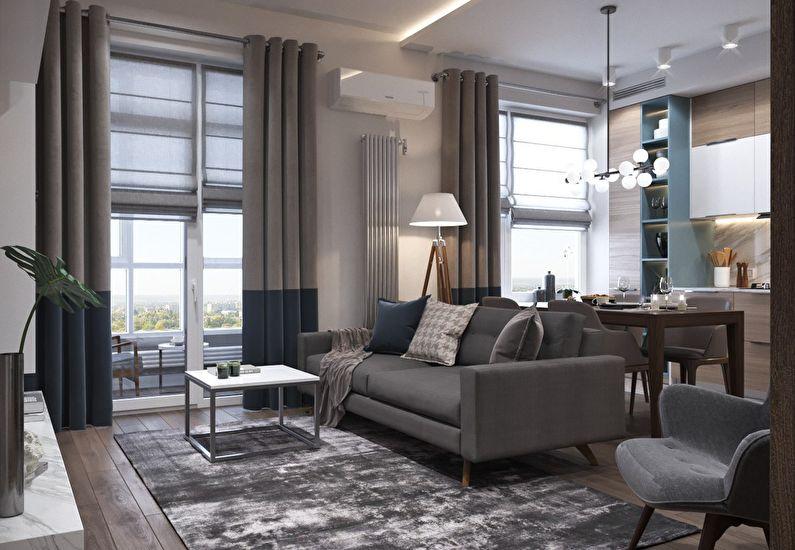 Design d'appartement à Moscou, 66 m²