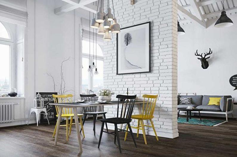 Mur de briques à l'intérieur de la cuisine - photo