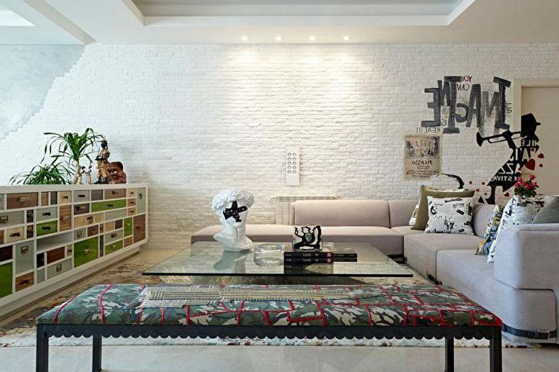 Mur de briques à l'intérieur du salon - photo