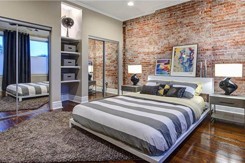 Mur de briques à l'intérieur de la chambre - photo
