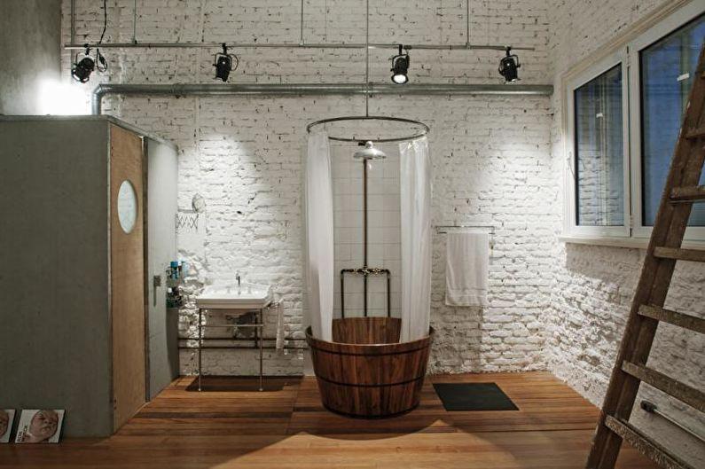 Mur de briques à l'intérieur de la salle de bain - photo