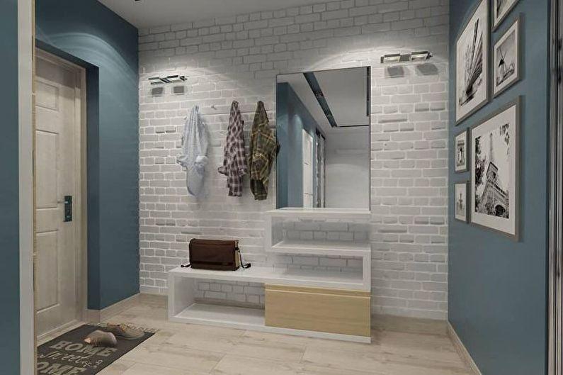 Mur de briques à l'intérieur du couloir, couloir - photo