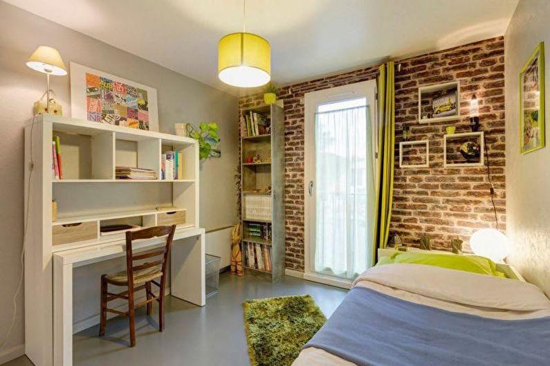 Mur de briques à l'intérieur d'une chambre d'enfant - photo