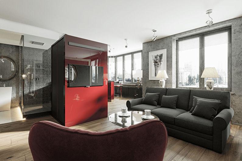 Intérieur de l'appartement avec vue sur Moscou