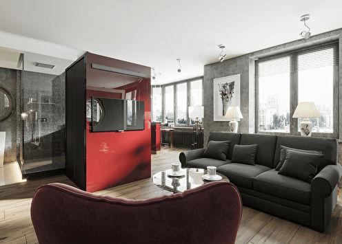 Interijer apartmana s pogledom na Moskvu