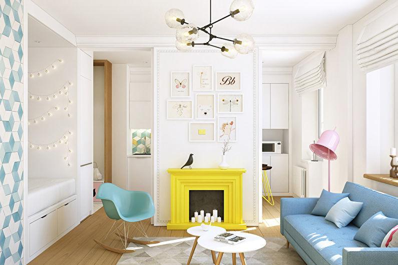 Caractéristiques de conception d'un appartement d'une pièce de 40 m².