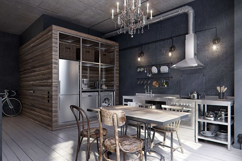 Loft brutal dans un studio de 40 m² - Design d'intérieur