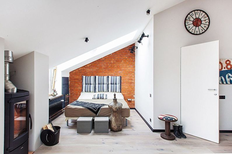 Conception d'un studio d'une pièce de 40 m² dans le grenier