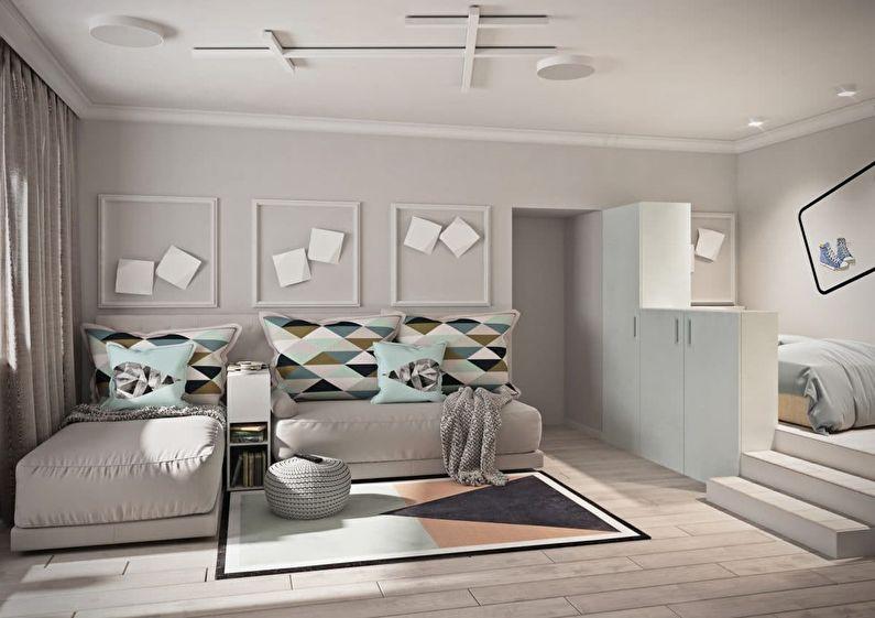 Appartement d'une pièce 40 m² pour une famille de trois personnes - design d'intérieur