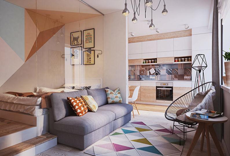 Appartement d'une pièce moderne de 40 m² - Design d'intérieur