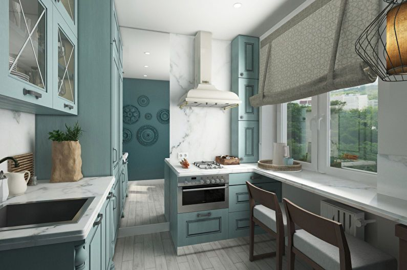 Conception de cuisine 6 m² dans le style de la provence