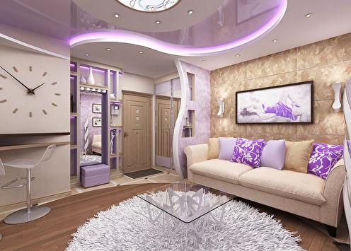 Projet de design de l'appartement dans un style fusion