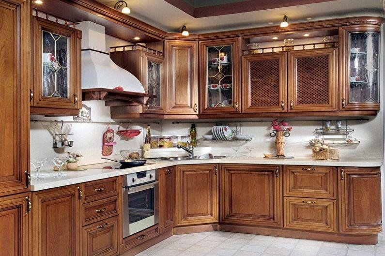 Cuisine marron de style classique - Design d'intérieur