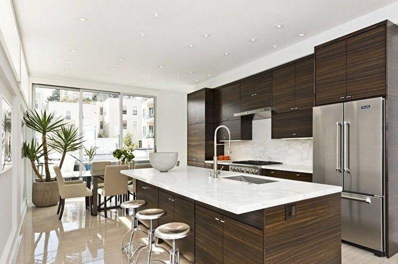 Cuisine marron dans un style moderne - Design d'intérieur