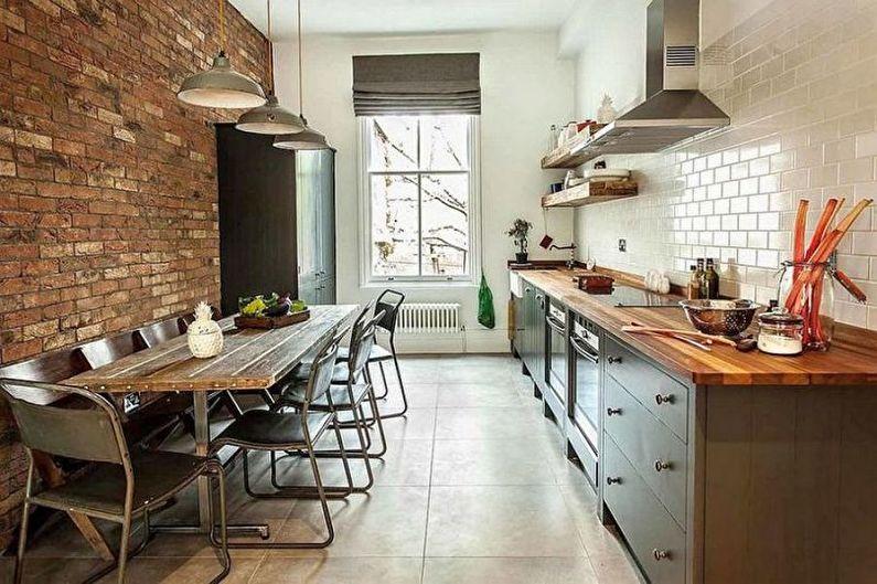 Cuisine de style loft brun - Design d'intérieur