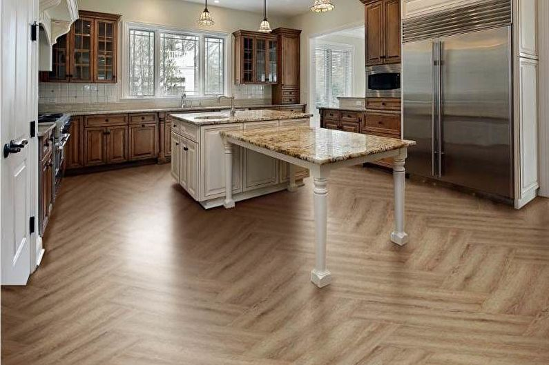 Design de cuisine brun - Fini à plancher