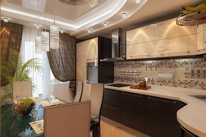 Conception de cuisine marron - Finition de plafond