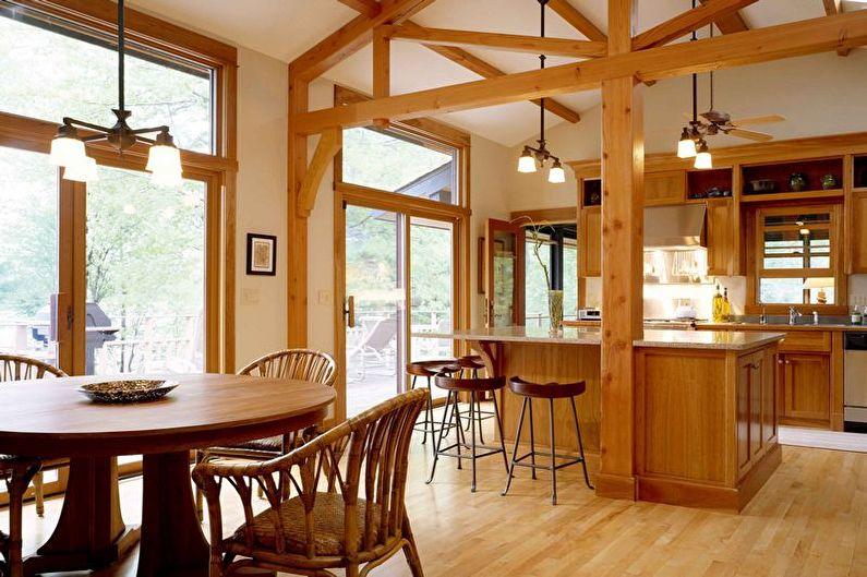 Brown Kitchen Design - Éclairage