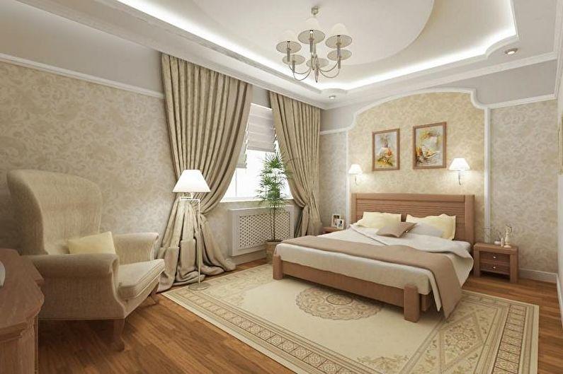 Conception de chambre beige - décoration et éclairage