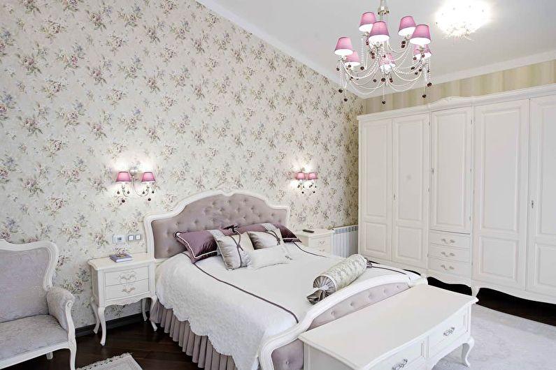 Chambre blanche de style classique - Design d'intérieur