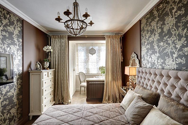 Chambre marron dans un style classique - Design d'intérieur