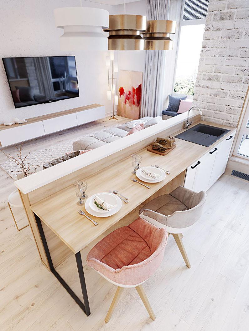 Zonage de la cuisine-salon - Mobilier