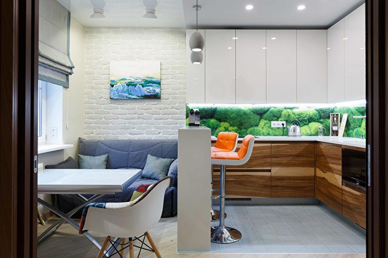 Conception d'une cuisine-salon dans un petit appartement - Couleurs