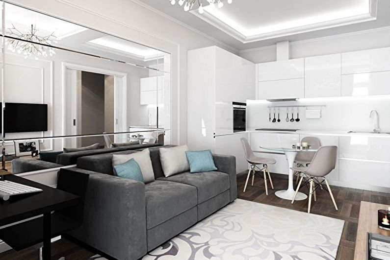 Conception d'une cuisine-séjour dans un petit appartement - Textures