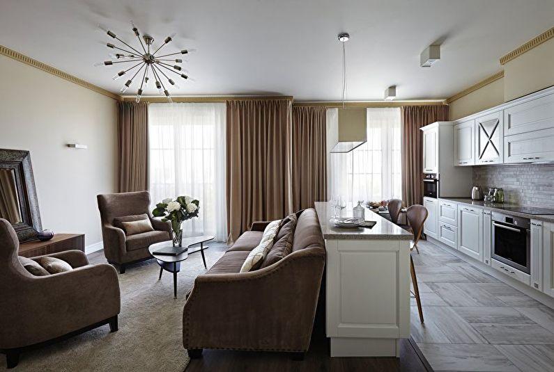 Cuisine-salon de style classique - Design d'intérieur