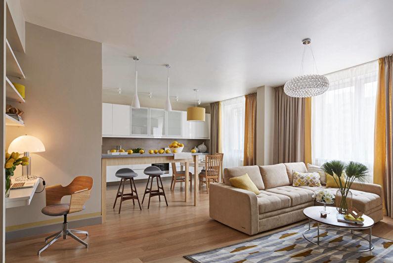 Cuisine-salon dans un style moderne - Design d'intérieur