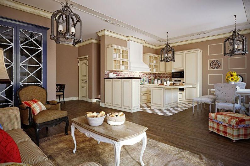 Cuisine-séjour dans le style provençal - Design d'intérieur