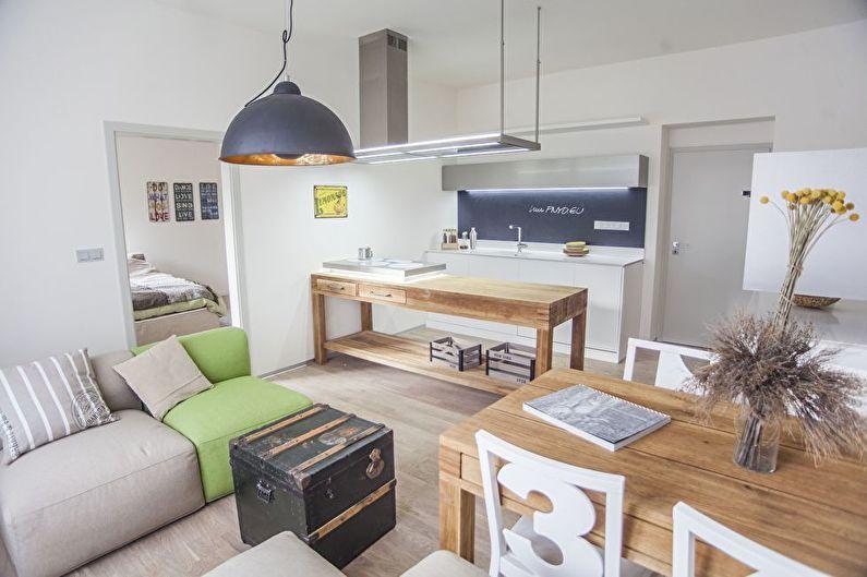 Cuisine-salon de style scandinave - Design d'intérieur