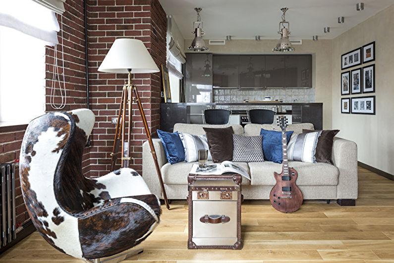 Cuisine-salon de style loft - Design d'intérieur
