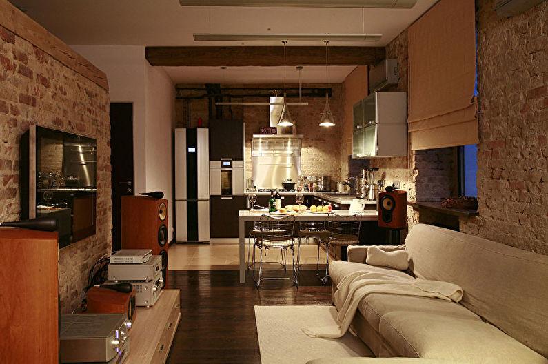 Conception de la cuisine combinée avec le salon - Éclairage et éclairage