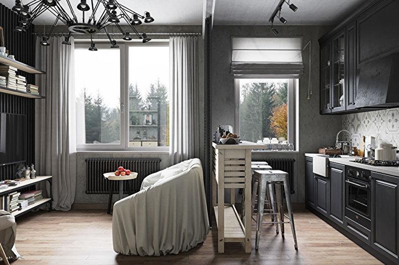 Aménagement intérieur d'une petite cuisine-salon - photo