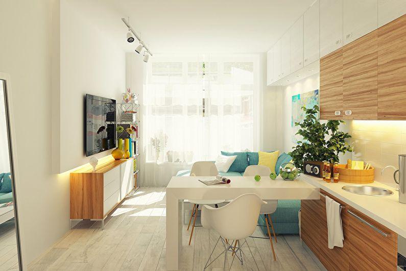 Aménagement intérieur d'une cuisine-salon dans le style scandinave - photo