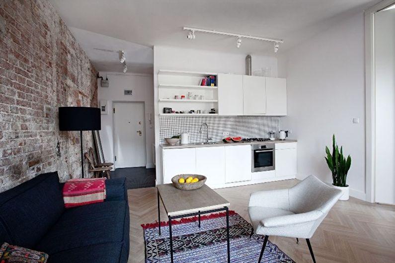 Aménagement intérieur d'une cuisine-séjour dans un petit appartement - photo