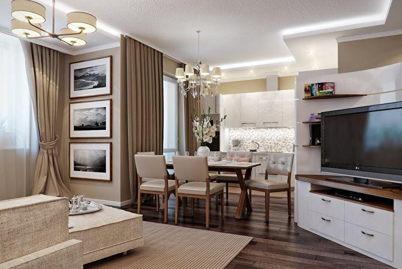 Design intérieur de la cuisine combiné avec le salon - photo