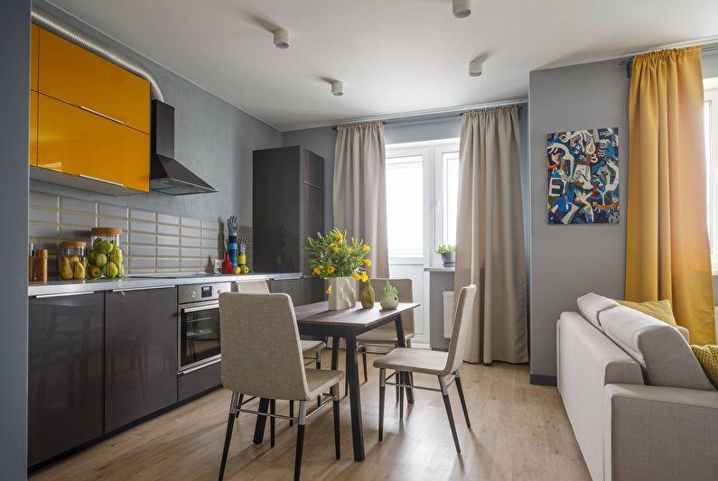 Design d'intérieur d'une cuisine-salon en gris - photo